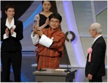 Winning Japan Prize for my documentary, School Among Glaciers, 2003